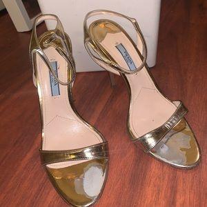 Prada Metallic gold heels
